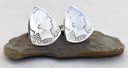 Barber Quarter 90% Silver Cuff Links 4 Coin Guitar Pick, Coin Guitar Picks