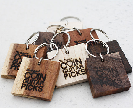 Raw Exotic Wood Keychain with Logo coin guitar picks, coin guitar pick