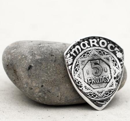 1370 (1950) Morocco 5 Francs Coin Guitar Pick, Coin Guitar Picks
