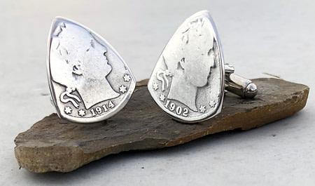 Barber Quarter 90% Silver Cuff Links 2 Coin Guitar Pick, Coin Guitar Picks