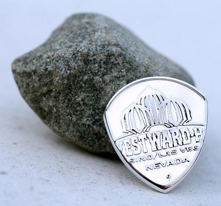Greg The Hammer Valentine 999% Fine Silver Westward Ho Casino Knockout 2 Coin Guitar Pick, Coin Guitar Picks