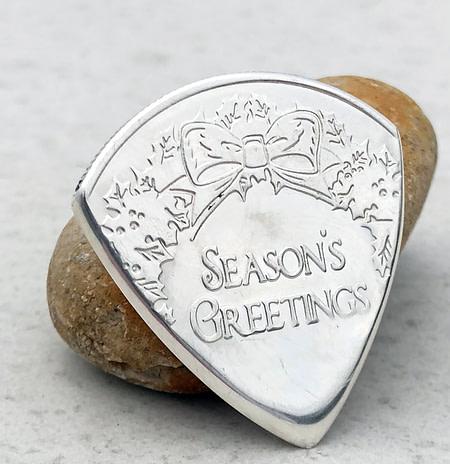 Merry Christmas Rudolph 999% Silver 2 Coin Guitar Pick, Coin Guitar Picks