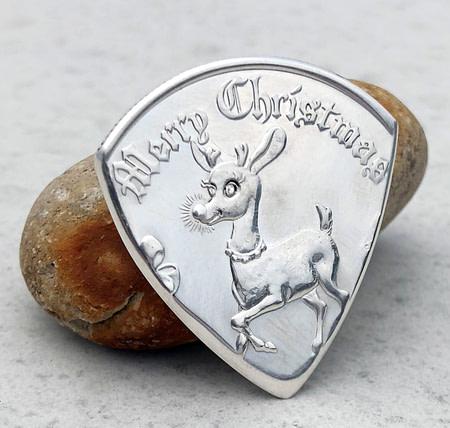Merry Christmas Rudolph 999% Silver 1 Coin Guitar Pick, Coin Guitar Picks