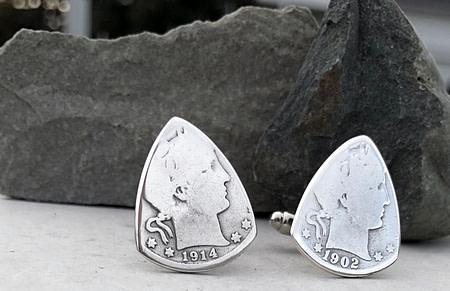 Barber Quarter 90% Silver Cuff Links 1 Coin Guitar Pick, Coin Guitar Picks