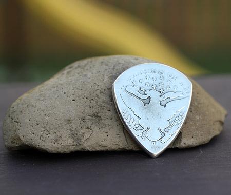 1903 US Barber Half Dollar 90% Silver 2 Coin Guitar Pick, Coin Guitar Picks
