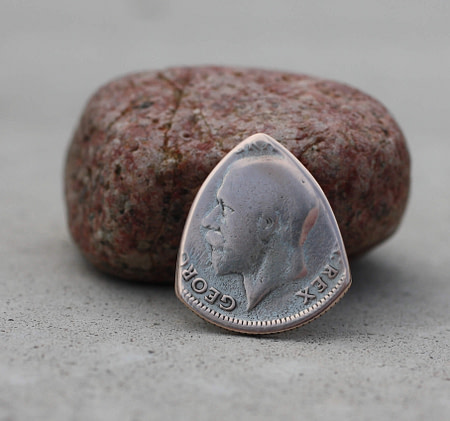 1926 UK 50% Silver Sixpence Coin Guitar Pick, Coin Guitar Picks