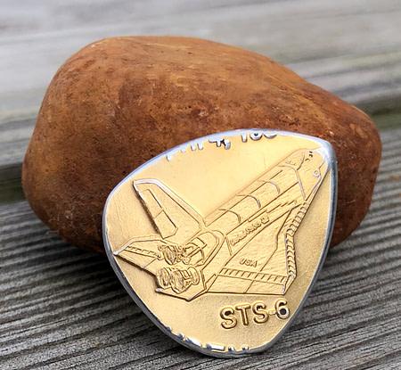 STS-6 Flown Coin 1 Coin Guitar Pick, Coin Guitar Picks