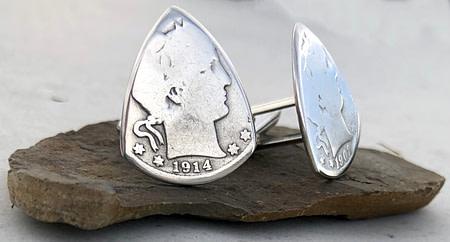 Barber Quarter 90% Silver Cuff Links 3 Coin Guitar Pick, Coin Guitar Picks