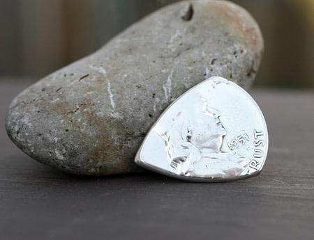 1951 US Franklin Half Dollar 90% Silver Coin Guitar Pick, Coin Guitar Picks
